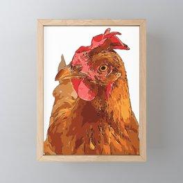 Quirky Farmyard Chicken Portrait Isolated Framed Mini Art Print