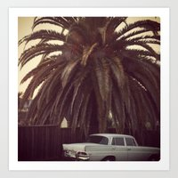 mercedes Art Prints featuring Palm Tree, Mercedes, California by ALLISON WATKINS