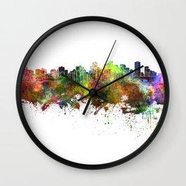 Edmonton skyline in watercolor background Wall Clock