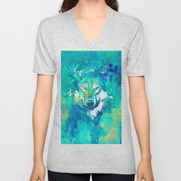 Teal yellow hand painted watercolor wolf Unisex V-Neck