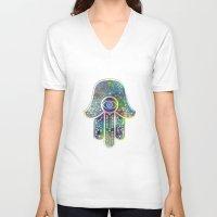 hamsa V-neck T-shirts featuring Hamsa by Klara Acel