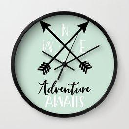 Adventure Awaits - Mint Wall Clock