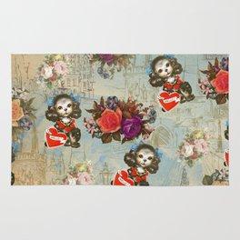 Shabby vintage dog floral landmark pattern Rug