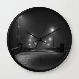 Newport Pier in Fog Wall Clock