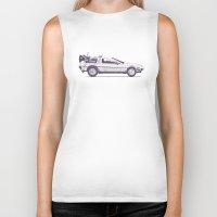 car Biker Tanks featuring Famous Car #2 - Delorean by Florent Bodart / Speakerine