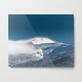 Misty clouds over snowy mountain Snežnik, Slovenia Metal Print