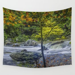 Rocky Broad River in October Wall Tapestry
