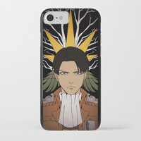 shingeki no kyojin iPhone & iPod Cases featuring Shingeki no Kyojin - Levi card by kamikaze43v3r