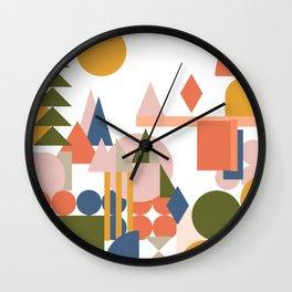 Folksy Geometric Abstract Landscape Wall Clock