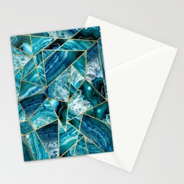 Turquoise Navy Blue Agate Black Gold Geometric Triangles Stationery Cards