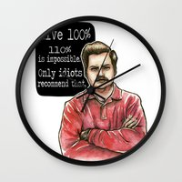 ron swanson Wall Clocks featuring Ron Swanson by Tiffany Willis