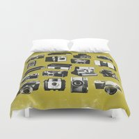 cameras Duvet Covers featuring Cameras by ELCORINTIO