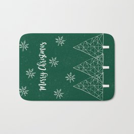 Merry Christmas Green Bath Mat