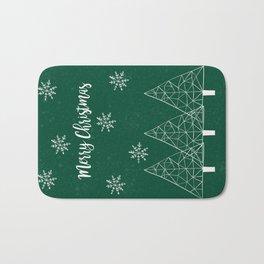 Merry Christmas Green Bath Mat