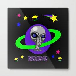 Grey Alien Blacklight Purple Believe Metal Print
