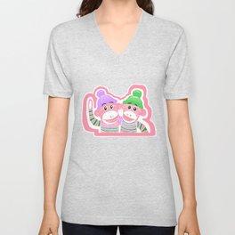 Pink, Purple, and Green Sock Monkeys Art Unisex V-Neck