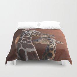 Endearing Giraffes Duvet Cover