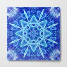 Ice Matrix Mandala Metal Print