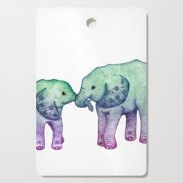 Baby Elephant Love - ombre mint & purple Cutting Board