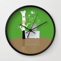 chef Wall Clocks featuring Cuckoo Chef by Marcelo Badari