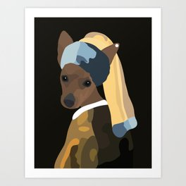 Pinscher dog with a pearl earring Art Print