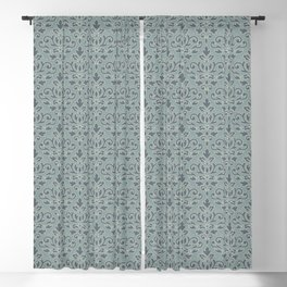 Scroll Damask (outline) Pattern Blue Cream Teal Blackout Curtain