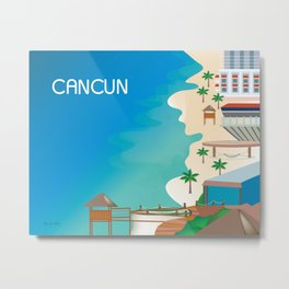 Cancun, Mexico - Skyline Illustration by Loose Petals Metal Print