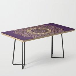 Golden Flower Mandala on Textured Purple Background Coffee Table