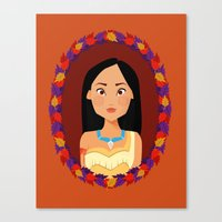 pocahontas Canvas Prints featuring Pocahontas by Joey Ellson