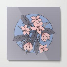 Sakura Branch - Rose Quartz + Serenity Metal Print