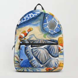 Sea Turtle - Bottom of the Sea Watercolor Painting Backpack