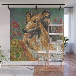 Rough Collie & Red Geraniums Wall Mural
