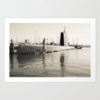 submarine Art Prints featuring Submarine by Color Outside The Lines  {RV}