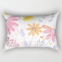 Wild Bohemian Watercolor Flowers Rectangular Pillow