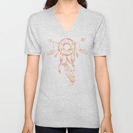 Mandala Rose Gold Pink Dreamcatcher Unisex V-Neck