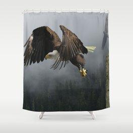 Vision Quest - Bald Eagle & Mists Shower Curtain