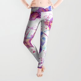 Splashing Purple Flower Leggings