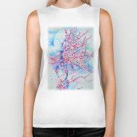 cherry blossom Biker Tanks featuring Cherry blossom by Maria Lozano - Art