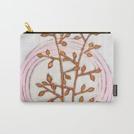 Gold Branches Pink Circles Carry-All Pouch