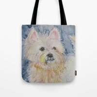 westie Tote Bags featuring Cute Westie by Gina Rahman