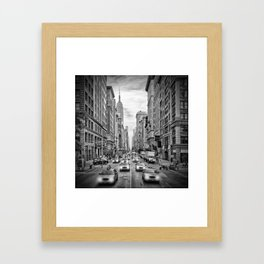 NEW YORK CITY 5th Avenue Traffic   Monochrome Framed Art Print