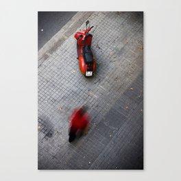 Little Red Vespa, Barcelona Canvas Print