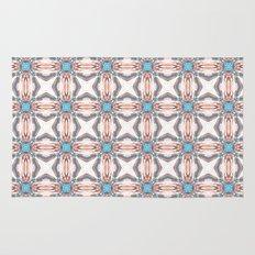 Classic Orange And Blue Pattern Rug