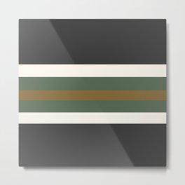 Grey Green and Gold Bold Str Metal Print