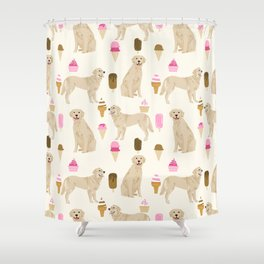 Golden Retriever dog breed pet portrait ice cream custom pet illustration by pet friendly Shower Curtain