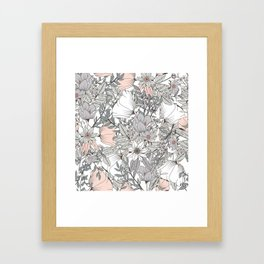 Farmhouse Chic Blush Pink and Grey Floral Pattern Framed Art Print