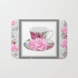 ABSTRACTEd PINK ROSE TEA TIME PORCELAIN ART Bath Mat