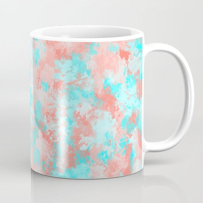 Artsy Modern Summer Coral Orange Aqua Abstract Coffee Mug