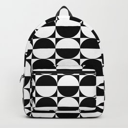 Mid Century Modern Half Circles Pattern Black and White Backpack