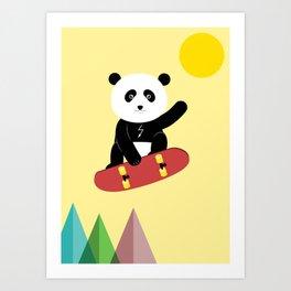 Panda on a skateboard Art Print
